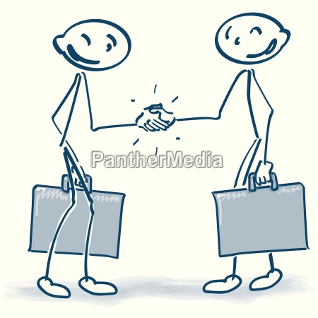 stick figure with suitcases shaking hands