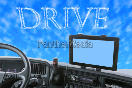 dashboard of the truck with drive