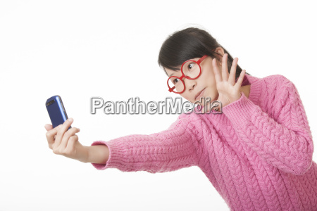 chinese woman using a cell phone