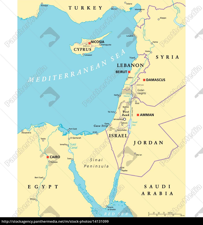 Mittelmeer Karte.Lizenzfreie Vektorgrafik 14131099 östliches Mittelmeer Politische Karte