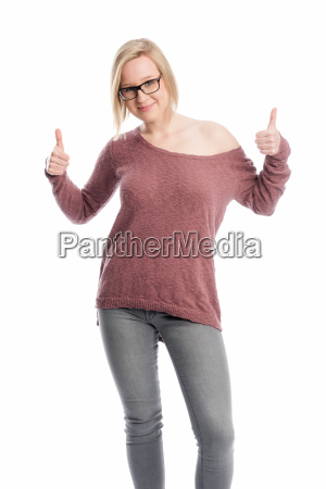 young woman with glasses showing thumbs