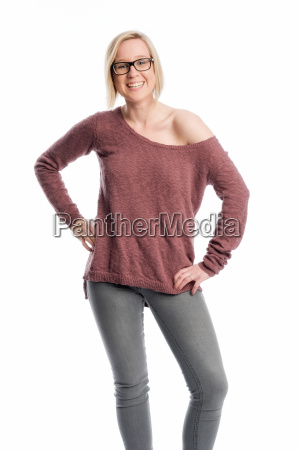 young woman in jeans wearing black