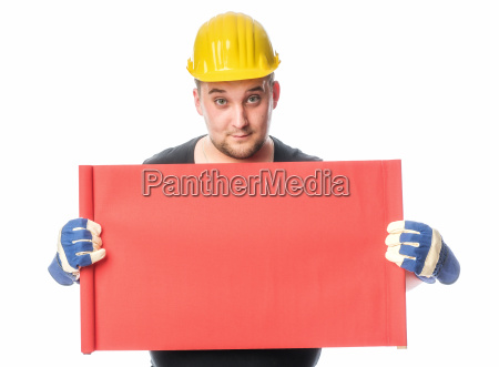 craftsman holding an advertising sign