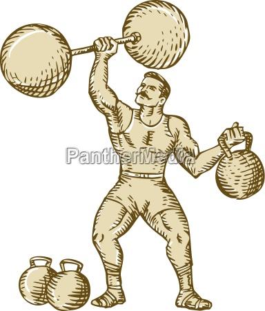 strongman heben barbell kettlebell etching