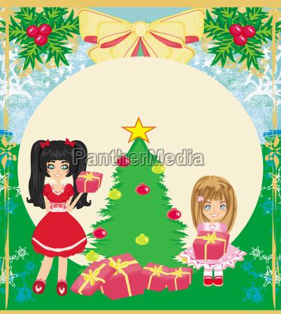 weihnachten hintergrund mit weihnachtsbaum und maedchen