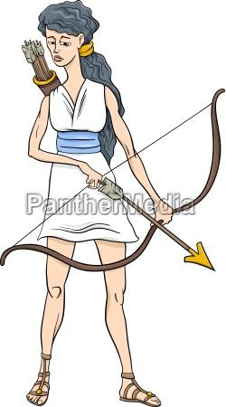 griechische goettin artemis cartoon