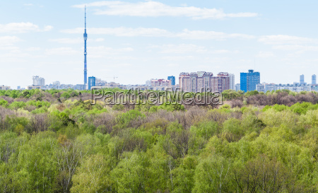 modern city and green forest in