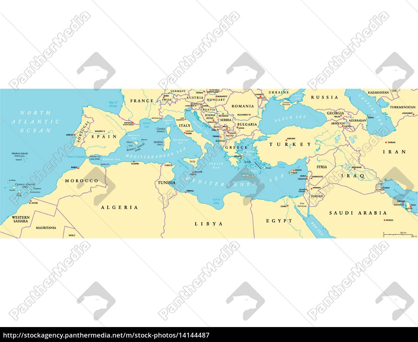 Mittelmeerraum Politische Karte Stockfoto 14144487