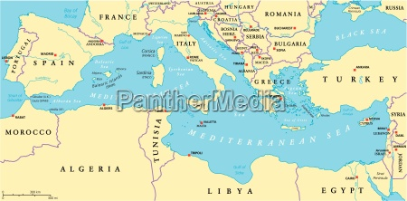 mittelmeer region politische karte