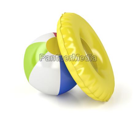 wasserball und schwimmen ring