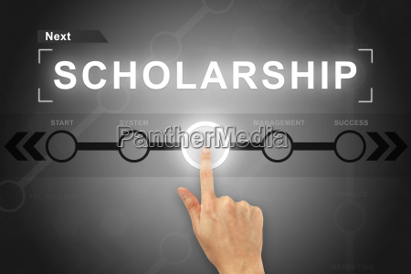 hand clicking scholarship button on a