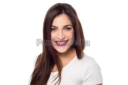 happy woman isolated over white