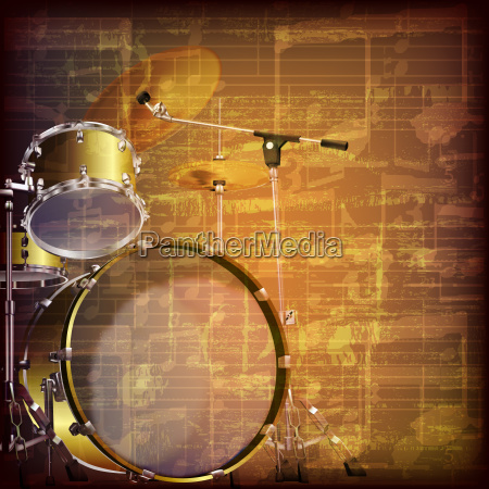 abstract grunge music background with drum