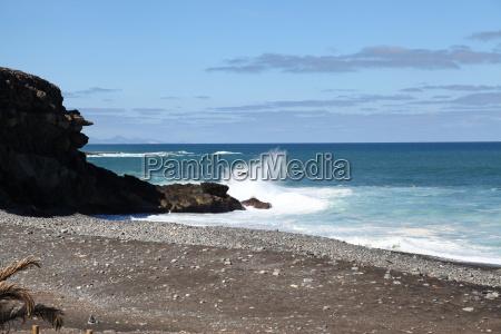 Fuerteventura, Kanarischen Inseln, Kanaren, Schwarzer Strand, Schwarzer Sand, Atlantischen Ozean - 14154545