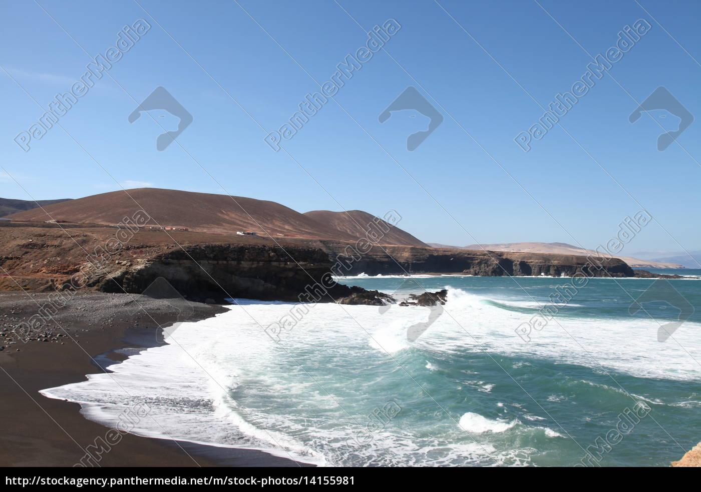 Fuerteventura, Kanarischen Inseln, Kanaren, Schwarzer Strand, Schwarzer Sand, Atlantischen Ozean - 14155981