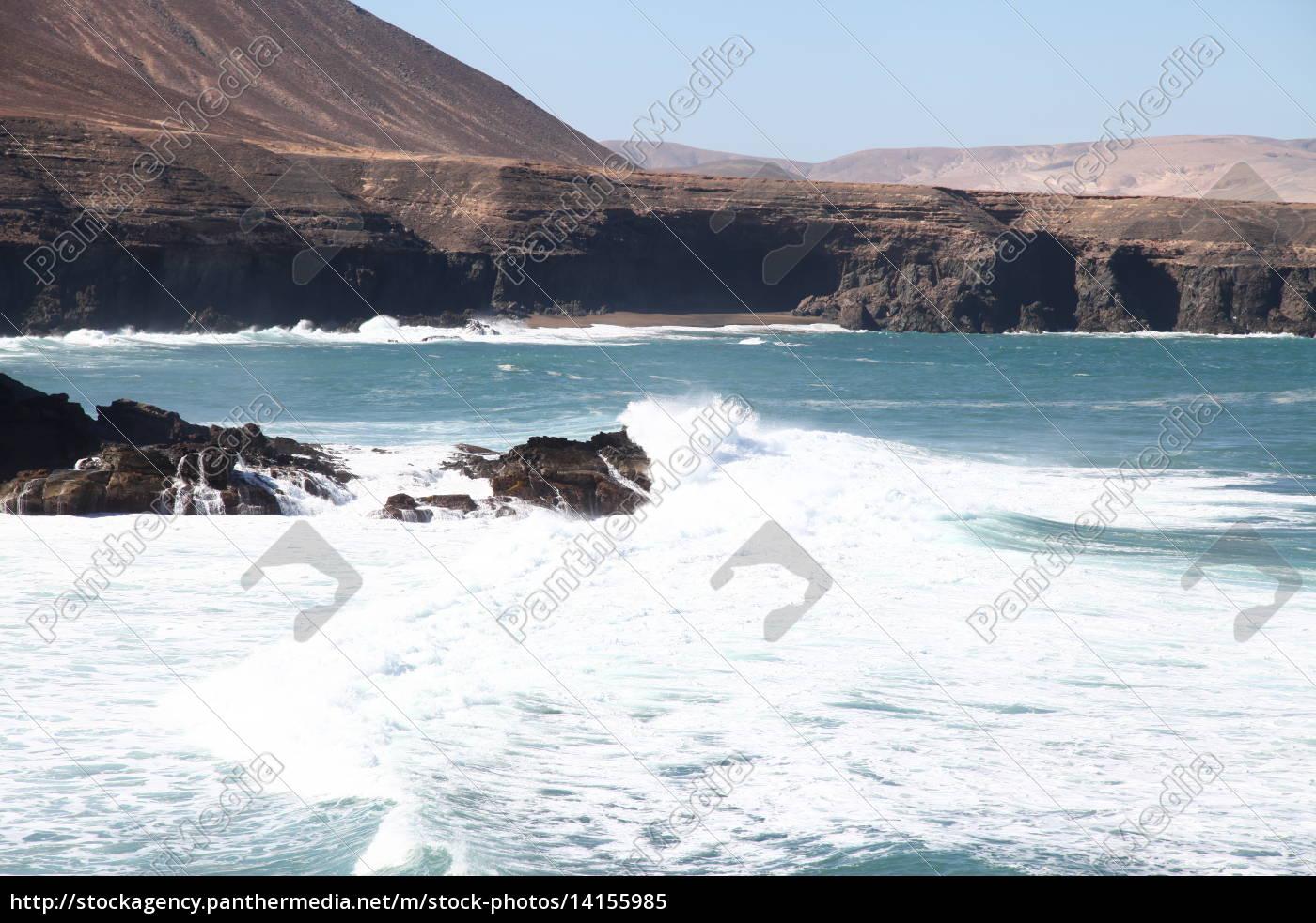 Fuerteventura, Kanarischen Inseln, Kanaren, Schwarzer Strand, Schwarzer Sand, Atlantischen Ozean - 14155985