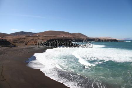 Fuerteventura, Kanarischen Inseln, Kanaren, Schwarzer Strand, Schwarzer Sand, Atlantischen Ozean - 14156087