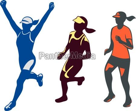 weibliche triathletin marathonlaeuferkollektion