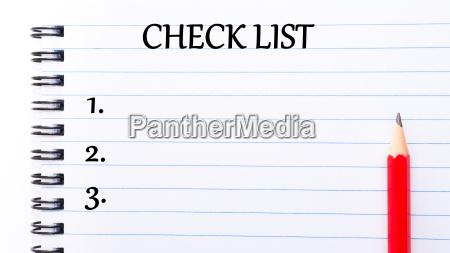 check list text written on notebook