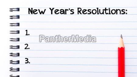new year resolutions text written on