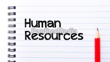 human resources text written on notebook