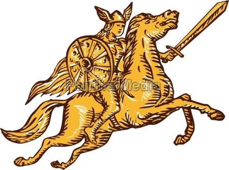 valkyrie krieger reitpferd schwert etching