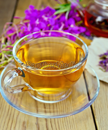 tea from fireweed in glass cup