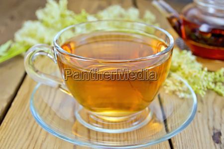 tea from fresh meadowsweet in glass