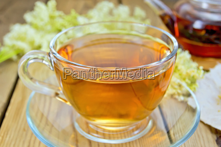 tea from meadowsweet in glass cup