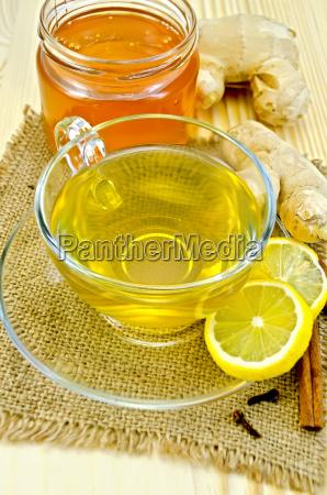 tea ginger on a napkin of