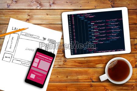 website drahtgitter skizze und programmiercode auf