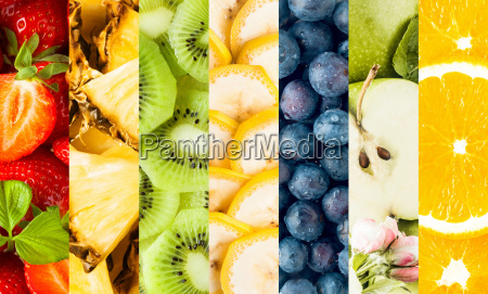 colorful collage of assorted tropical fruit