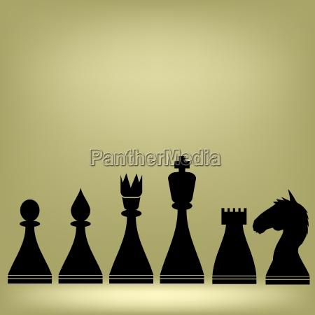 schach stueck silhouetten auf grauem hintergrund
