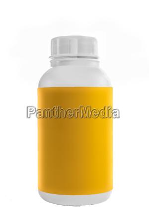 weisse kunststoff behaelter mit gelben aufkleber