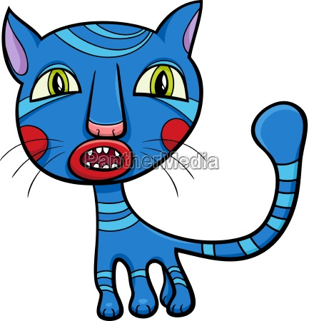 blue kitten or cat cartoon