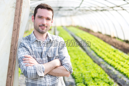 portrait of an attractive farmer in