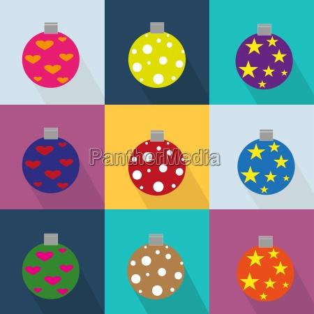 weihnachts icons mit ornamenten set eingerichtet