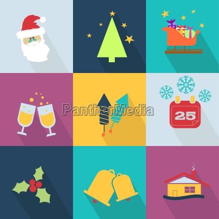 weihnachts icons mit objekten typisch fuer