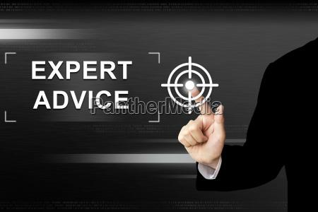 business hand pushing expert advice button