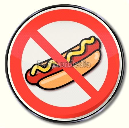 verbotsschild fuer hotdogs mit wurst und