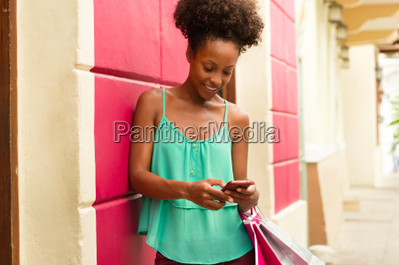 african american girl shopping and text