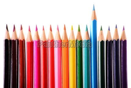 composition with colorful crayons isolated on