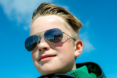 boy with modern hair style and