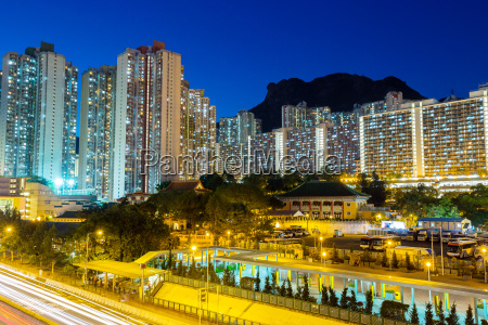 cityscape in hong kong with lion