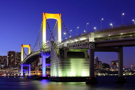 torre ciudad moderno asia puente noche