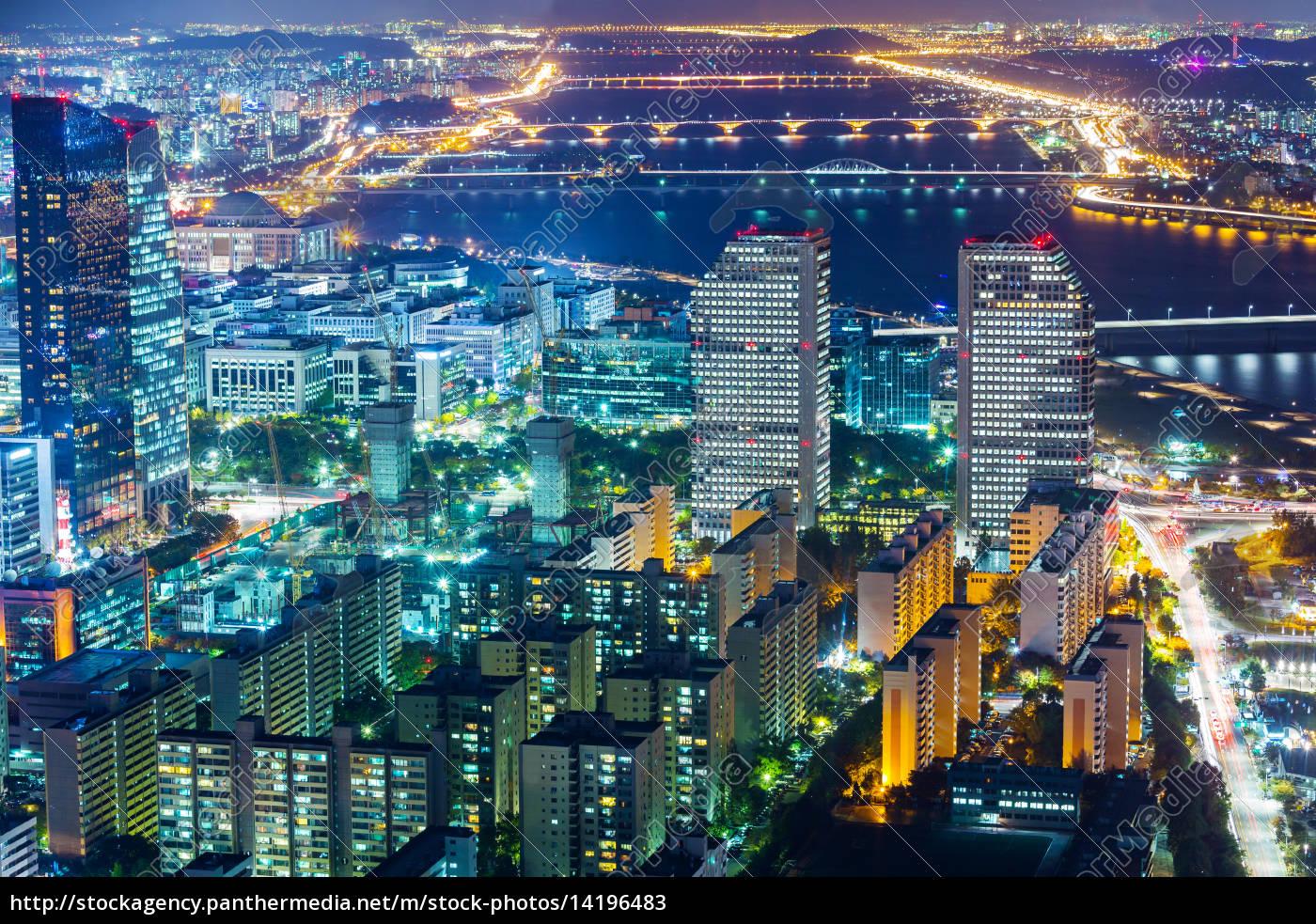seoul, stadt, bei, nacht - 14196483
