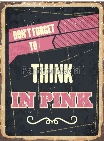 retro metal sign think in