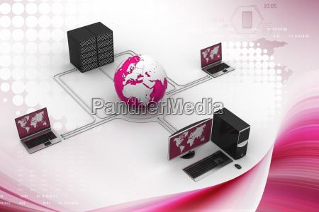 globe around with laptop server