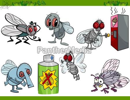 funny flies set cartoon illustration