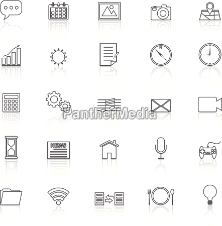 application line icons with reflect on